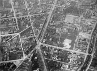 The road junction today called Ernst-Reuter-Platz in Berlin photographed from a balloon in 1886-87. North is approximately to the right in the picture. Owner: Preus Museum, unknown photographer.